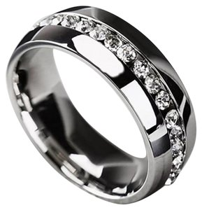 New Stainless Steel Titanium And Crystal Unisex Wedding Band