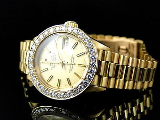 Rolex Pre-owned Ladies 27 Mm Rolex President Day-date 18k Yellow Gold Diamond Watch