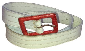 Givenchy Givenchy 509 White Belt with Red Buckle