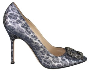 Manolo Blahnik Jeweled Buckle Metallic Dark Silver Leopard Print Crystal Buckle Metallic Gray Pumps