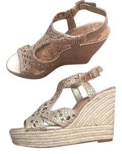 Gianni Bini Wedge Espadrille Sandal Gold Wedges