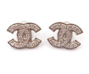 Chanel Chanel Silver CC Blink Rhinestone Piercing Earrings