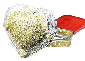 Jewelry Unlimited Womens,White,Gold,Finish,Real,Canary,Diamond,20,Mm,Designer,Heart,Ring,.80ct