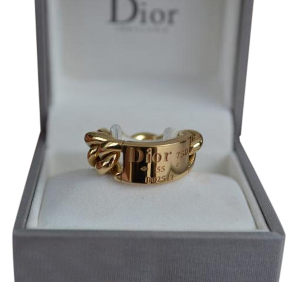 eabb8fd3458 Dior 18k Yellow Gold Christian Chain Link Gourmette Ring 54% off retail
