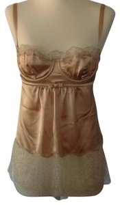 Dolce&Gabbana Silk Lace Trim Italian Empire Waist Top Gold
