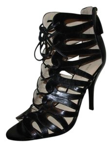 Nine West Leather Gladiator Lace Up black Sandals