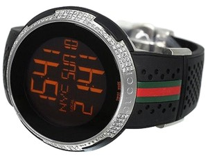 Gucci Custom Mens I Gucci Digital 49 Mm Rubber Diamond Watch Ct Ya114103