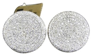 Jewelry Unlimited Mens,Ladies,10k,Yellow,Gold,12,Mm,Diamond,Pave,Circle,Round,Stud,Earrings,1.8,Ct