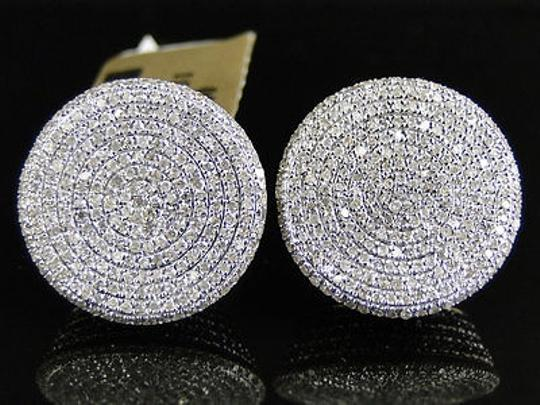 Other 10k Yellow Gold 12 Mm Diamond Pave Circle Round Stud Earrings 1.8 Ct