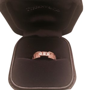 Tiffany & Co. Atlas Ring 18k Rose Gold With Diamonds