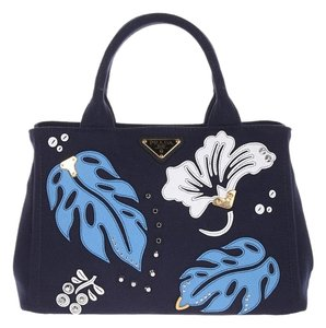 Prada Canvas Tote in Baltic Blue/Sea Blue