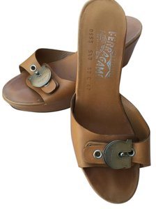 Salvatore Ferragamo Sandals Platforms Monogram Metal Buckle Light Brown Wedges