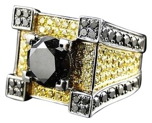 ,Mens,Gold,Black,And,Canary,Diamond,Ring,Solitaire,Band,Pinky,Ring,7.7,Ct