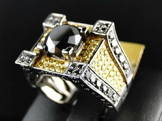 Other ,Mens,Gold,Black,And,Canary,Diamond,Ring,Solitaire,Band,Pinky,Ring,7.7,Ct