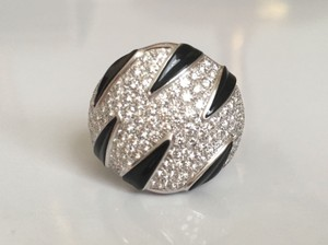 Cartier Cartier 18k Wg Pave Diamond Onyx Panthere Collection Ring