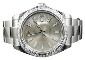 Rolex Mens Mm Rolex Datejust Ii Watch With 2.15ct Diamond Bezel 116520
