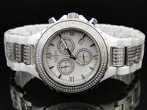 Unisex Ice Time Jojo Jojino Joe Rodeo White Ceramic Band Diamond Watch Mm
