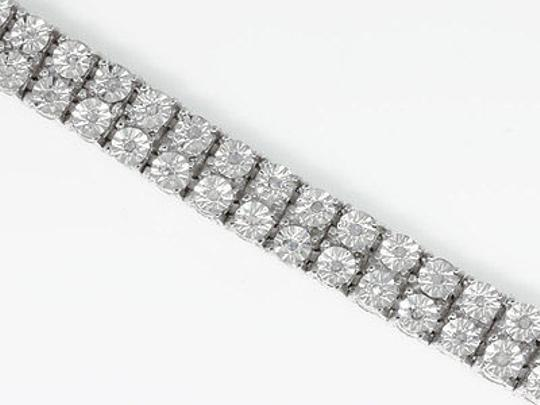 Other Double,Row,Genuine,Diamond,Bezel,Bracelet,In,White,Gold,Finish,-,7.5,Inch