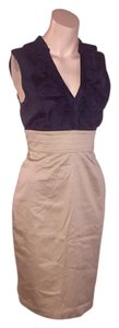 Arden B. Two-tone Color-blocking Ruffled Fitted Sleeveless Dress