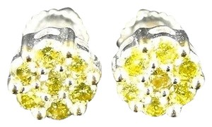 10k,White,Gold,Menswomens,Full,Canary,Diamond,Stud,Earrings,.67,Ct