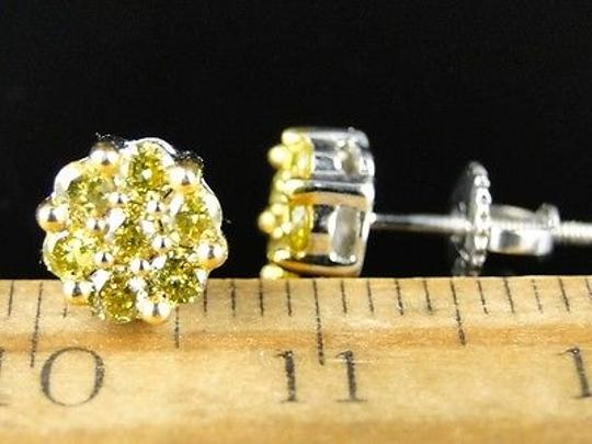 Other 10k,White,Gold,Menswomens,Full,Canary,Diamond,Stud,Earrings,.67,Ct