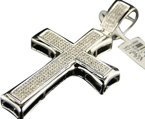 10k,White,Gold,2.6,Inch,Si,Pave,Diamond,Cross,1.35,Ct
