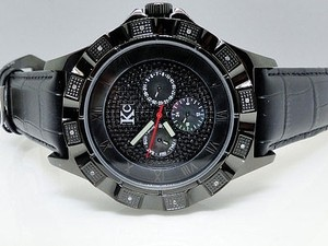 Techno Com by KC Techno Com Kc Jojo Jojino Joe Rodeo Black Leather Band Diamond Watch Mm 0.20