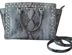 Michael Kors Mk Blue Satchel in Snake-Print Denim