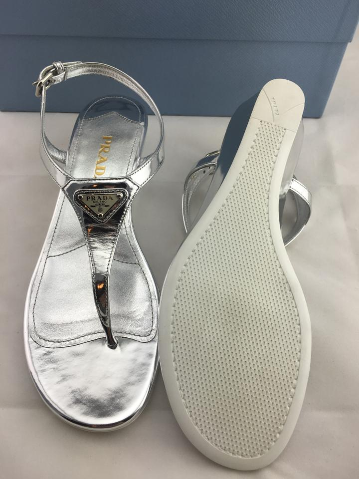 24ba215a6 Prada Silver Patent Leather Thong Wedge Sandals Size US 7.5 Regular ...