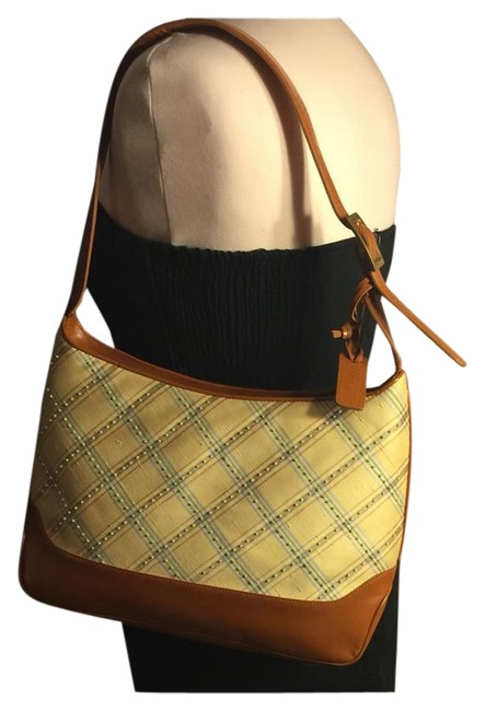 Item - Shoulder Bag New York Plaid/Pearl Accent-brown Yellow/Blue/Pearl/Brown Silk/Leather Satchel