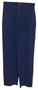Céline Made In France 100% Silk Gold Zipper Front Straight Pants Blue