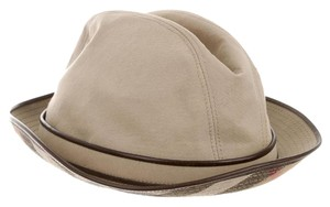 Burberry Beige Burberry Leather-Trimmed Plaud print Hat M Medium