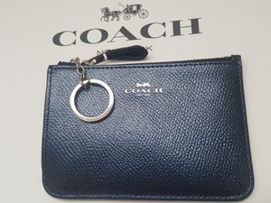 Coach NEW COACH Leather card Case holder Key pouch coin purse metallic Navy