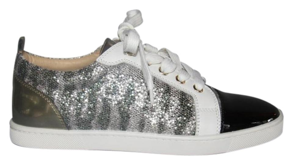 competitive price c8b46 1c83a Christian Louboutin Silver Gondoliere Black Patent Glitter Flats 37  Sneakers Size US 7 Regular (M, B) 33% off retail