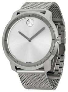 Movado Silver Stainless Steel Mesh Strap Designer MENS Casual Dress Watch
