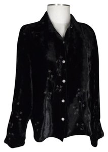 J. Jill Velvet Embroidered Top black