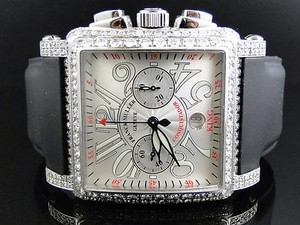 Franck Muller Mens Franck Muller King Conquistador Cortez Iced Out Diamond Watch 16.65 Ct