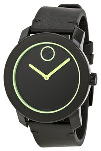 Movado Black Stainless Steel and Leather Strap Green Neon Designer MENS Watch