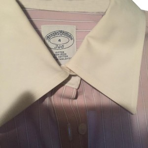 Brooks Brothers Button Down Shirt Pink Stripes (with white collar)