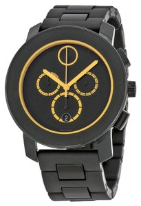 Movado Black Stainless Steel with Gold Hands Designer MENS Casual Sport Watch