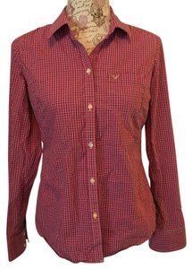 American Eagle Outfitters Button Down Shirt Pink Plaid