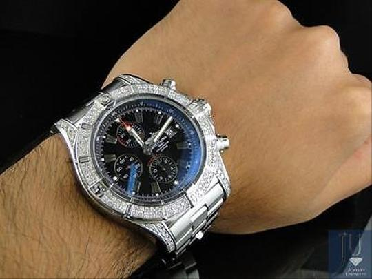 Breitling Mens Breitling Black Dial Genuine Diamond Stainless Steel Band Watch Ct