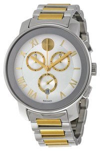 Movado Two Tone Silver and Gold Stainless Steel Designer MENS Dress Watch