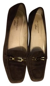 Anne Klein Flex Loafer Flat Chocolate brown gold buckle Flats
