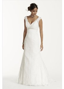 David's Bridal All Over Beaded Lace Trumpet Gown Style T9612 Wedding Dress