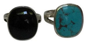 Vintage CFJ Rings, Sterling Silver, Onyx, Turquoise - 2 for 1