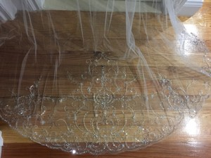 Ivory Long Handmade Heavily Embroidered Cathedral Bridal Veil