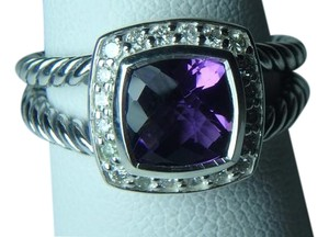 David Yurman size 8 New With Pouch Albion Petite Ring Amethyst With Pave Diamonds