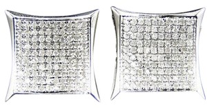 Mens Ladies 10k White Gold Diamond Kite Pave Shape Stud Earrings 14mm 1.0 Ct