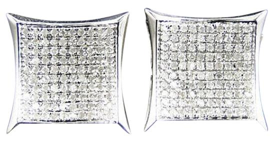 Other Mens Ladies 10k White Gold Diamond Kite Pave Shape Stud Earrings 14mm 1.0 Ct